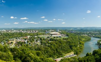 Panorama of Morgantown and WVU in West Virginia